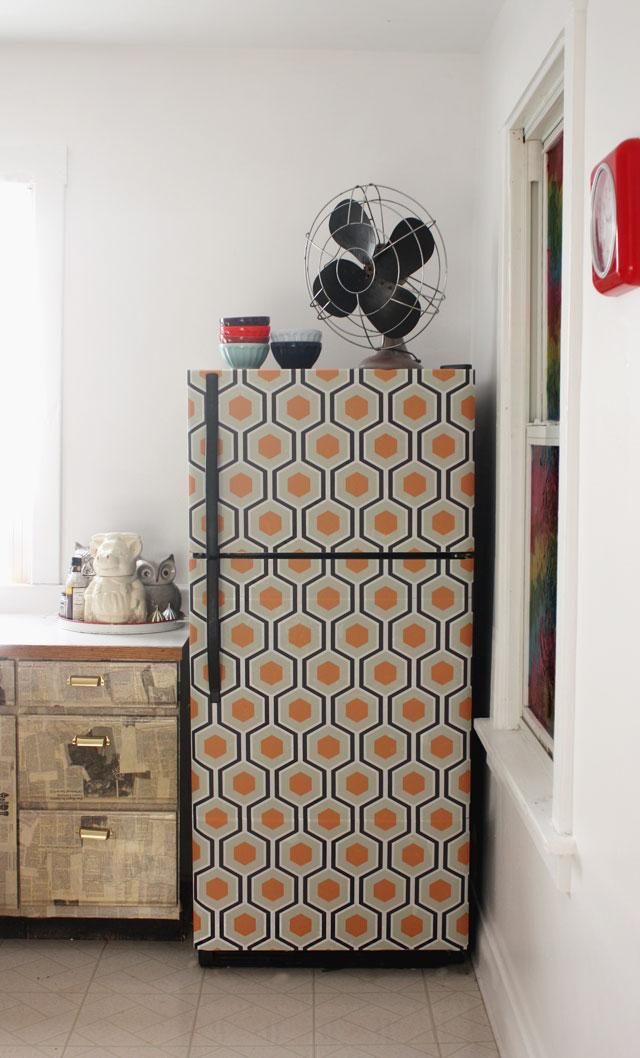 wallpaper fridge makeover