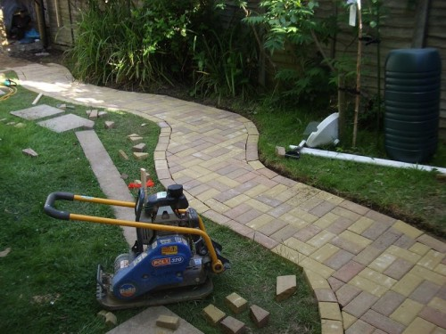 concrete and brick path