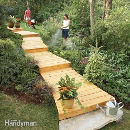 wooden garden boardwalk