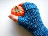 simple knitted blue gloves