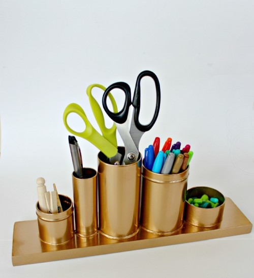 Cool DIY Gold Pencil Holder