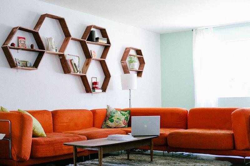 Muurdecoratie Slaapkamer Zelf Maken : DIY Honeycomb Shelves