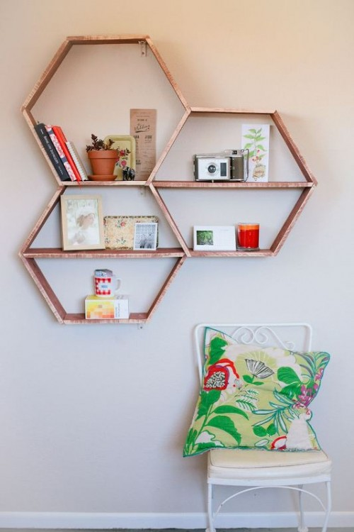 Cool Shelving cool diy honeycomb shelves - shelterness