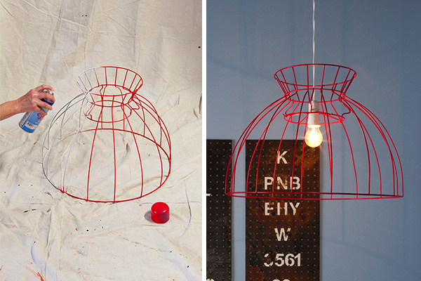 red industiral lampshade