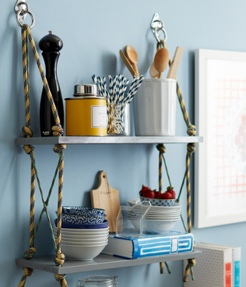 Cool DIY Industrial Shelves Of Rope