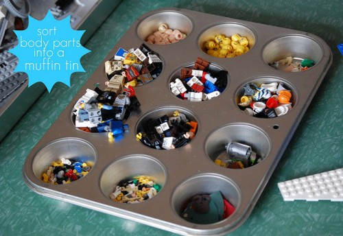 Lego Storage In A Muffet Tray (via makingchickensalad)