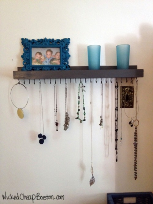cool diy necklace storage shelf shelterness