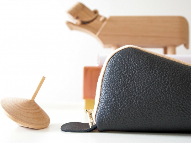 triangular leather pencil case