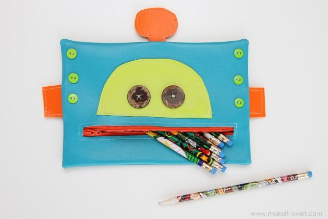 robot zipper mouth pencil case