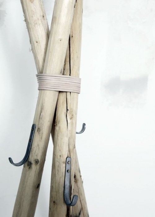 rustic wooden coat hanger
