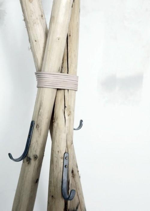 rustic wooden coat hanger