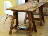rustic desk with stained legs