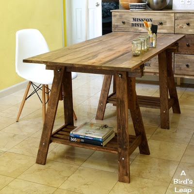 rustic desk with stained legs (via abirdsleap)