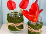 moss and twine wrapped jars
