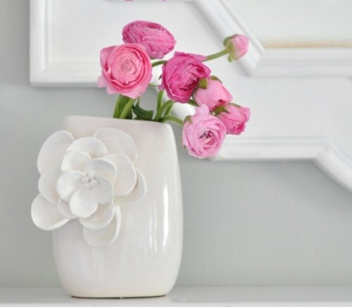 vase decorated with clay petals (via shelterness)