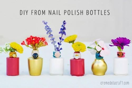 vibrant nail polish bottle vase (via cremedelacraft)