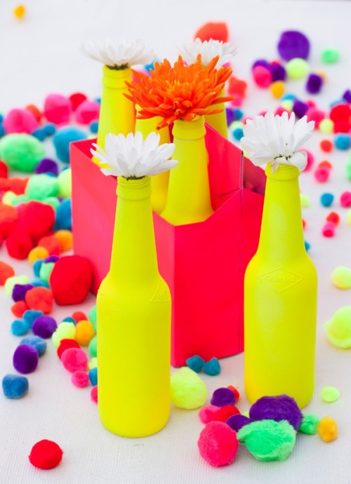 spring neon vases (via shelterness)