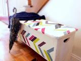 herringbone storage bench