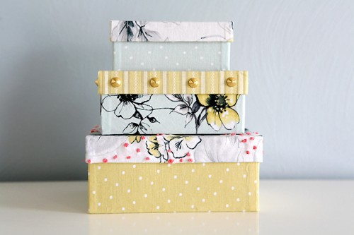 fabric covered boxes (via caughtonawhim)