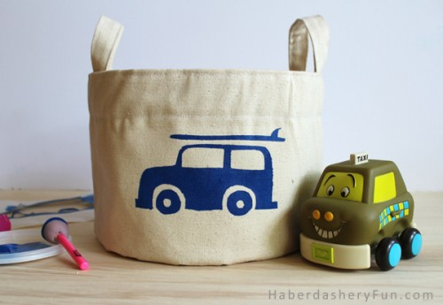 cotton canvas storage bin (via haberdasheryfun)