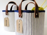 fabric and leather storage baskets