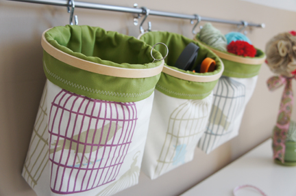 fabric hanging baskets (via always-a-project)