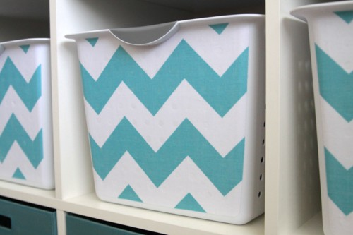 chevron fabric covered storage bins (via itsalwaysautumn)