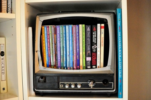 Dvd Storage Box Of An Old TV (via Shelterness)