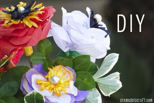crepe paper flowers (via cremedelacraft)