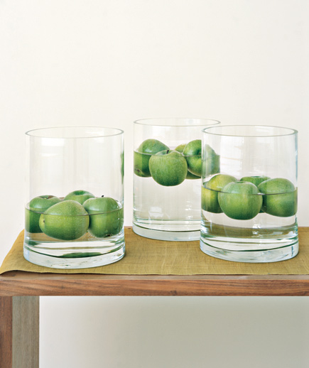 floating apples centerpiece (via realsimple)