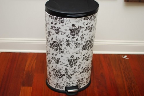 trash bin decorated with contact paper