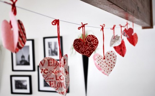 DIY Valentine's Day Heart Garland Of Fabric Or Paper