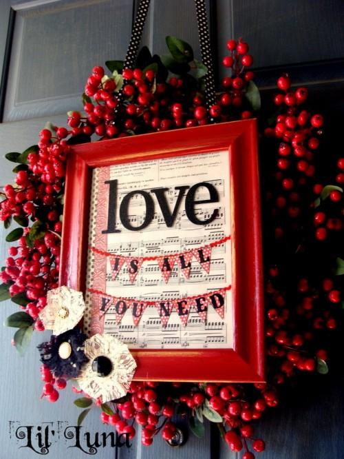 DIY Valentines Frame Wreath (via lilluna)