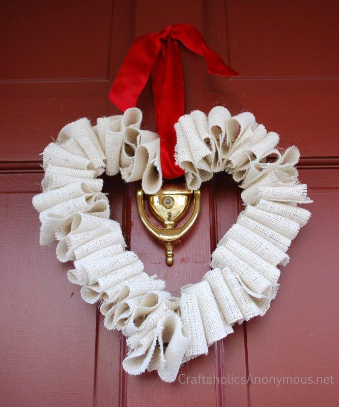 White Burlap Heart Wreath Tutorial