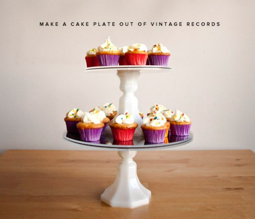 Cool DIY Vintage Cupake Stand Of Old Vinyl Records