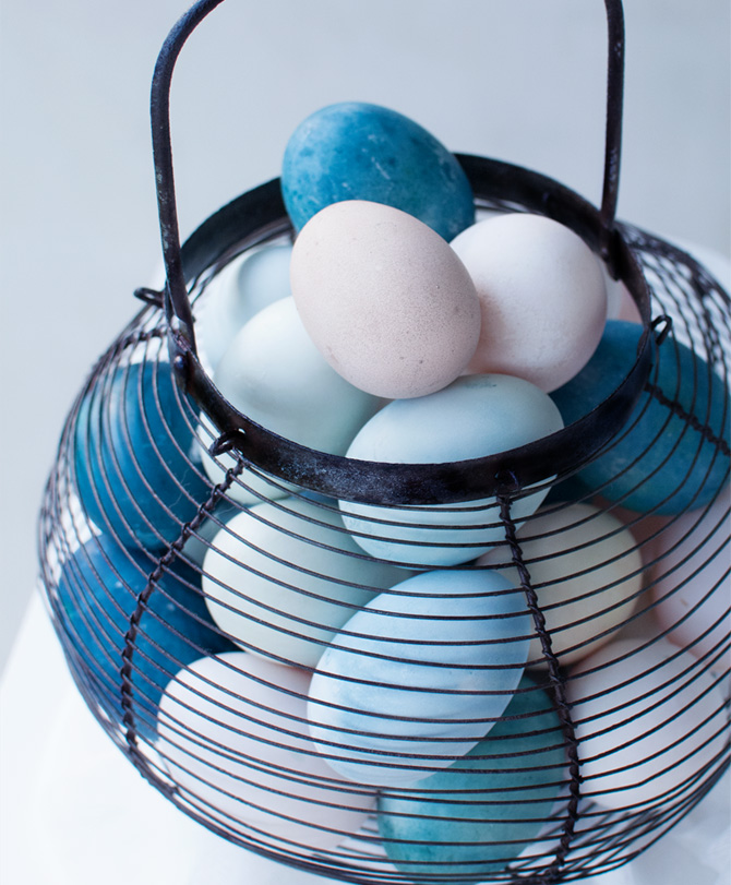 blue Easter eggs using red cabbage