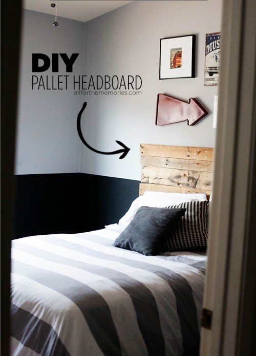 easy pallet headboard (via allforthememories)