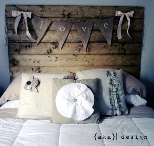 rustic headboard of reclaimed wood (via akadesign)
