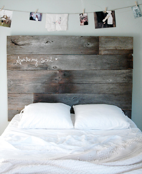 salvaged wood headboard (via designsponge)
