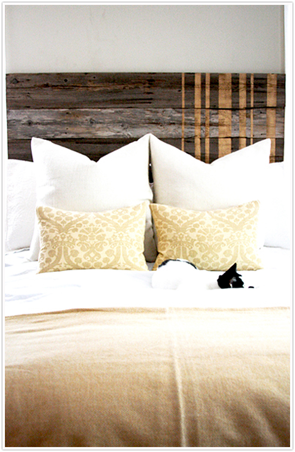 fence transformed into a headboard