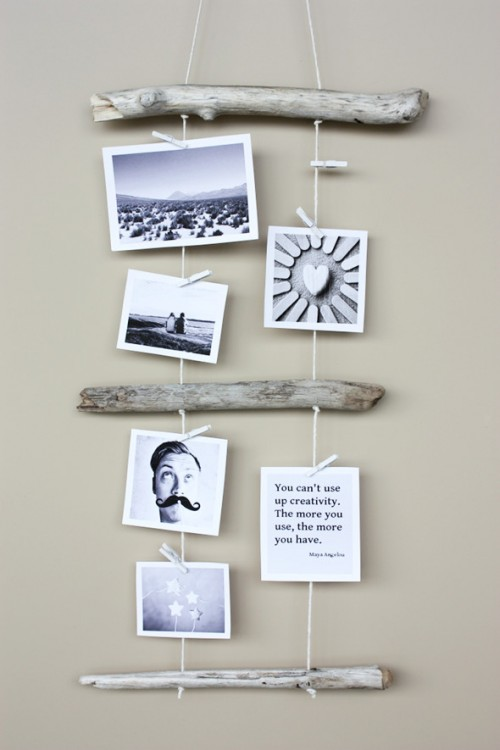 driftwood photo display (via morningcreativity)