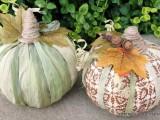 cornhusk and fabric pumpkins