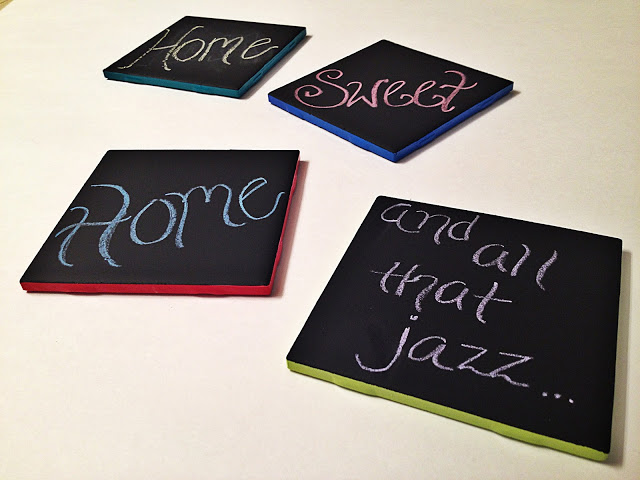 chalkboard coasters with colorful frame