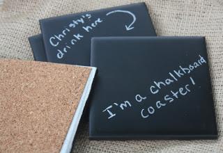 chalkboard coasters of porcelain tiles  (via christyrobbins)