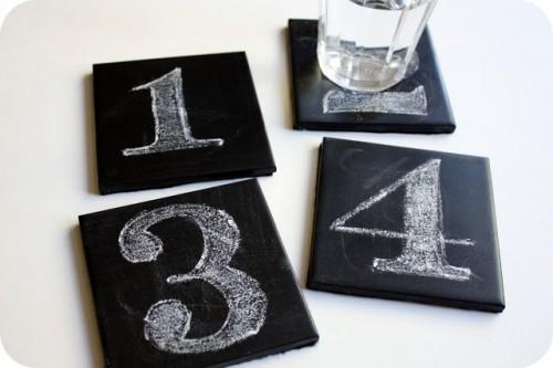 chalkboard coasters of 4x4 tiles (via westermanfam)