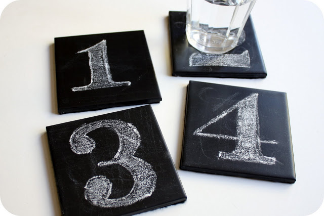 chalkboard coasters of 4x4 tiles