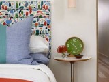 a long tube ombre white to pink hanging bedside lamp is a great choice for a quirky and colorful bedroom