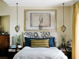 cool hanging lamps with metallic frames make a statement and catch an eye in this cool bedroom