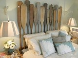 wall sconces with light-colored lampshades are nice for a rustic and relaxed bedroom