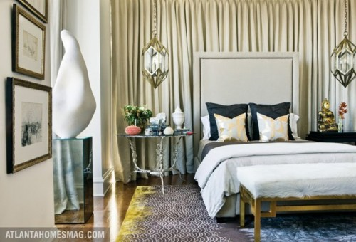 large diamond-shaped gold pendant lamps make the bedroom more refined, chic and bring much light in